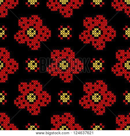 Seamless texture with abstract red yellow flowers on black background. Embroidery. Cross stitch.