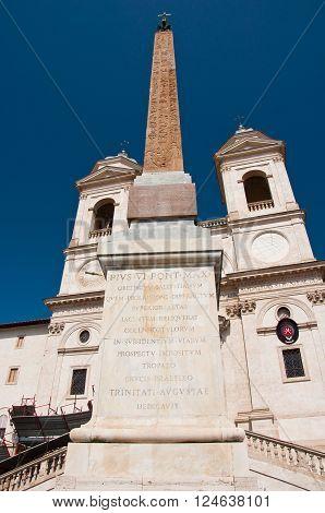 Trinità dei Monti seen from Piazza di Spagna. Rome Italy.