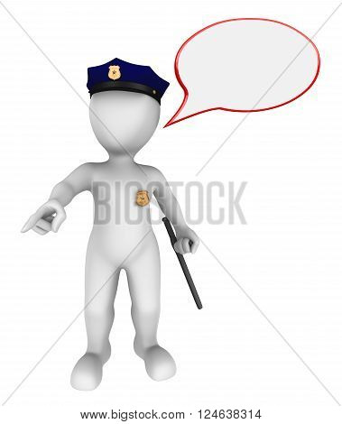 3d police officer with empty speach bubble gives the order