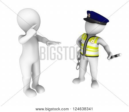 3d policeman and drunk driver. Sobriety test