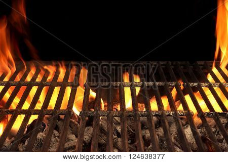 Empty Barbecue Fire Grill And Burning Charcoal With Bright Flames.
