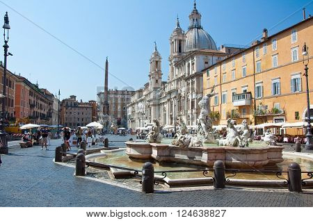 ROME-AUGUST 8: Piazza Navona on August 8 2013 in Rome. Piazza Navona is a city square in Rome Italy.