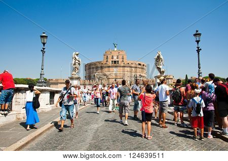 ROME-AUGUST 8: Castle of the Holy Angel on August 82013 in Rome Italy. Castel Sant'Angelo is a towering cylindrical building in Parco Adriano Rome Italy.