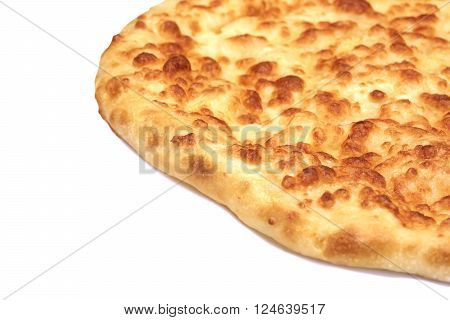 Classic Round Cheese Pie Or Quatrro Formaggi  Pizza, White Isolated