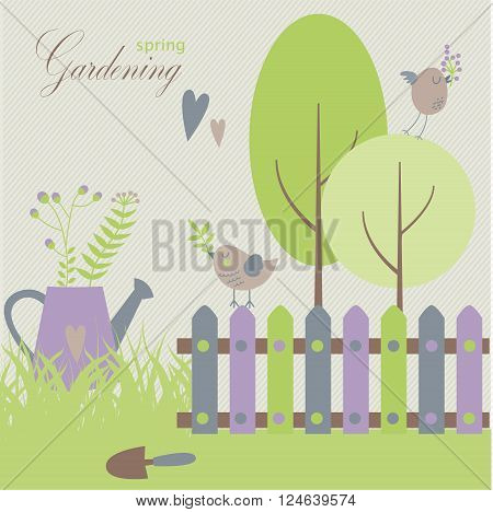 Gardening in the springtime trees grass flowers gardening tools and birds