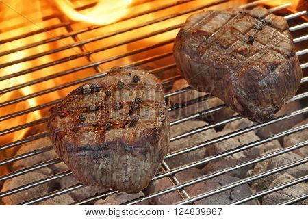 Grilled Beef Fillet Medallions On The Flaming Barbecue Grid