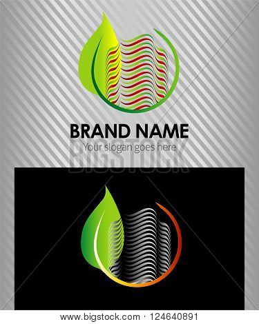 Green eco logo building tower construction symbol with leaf