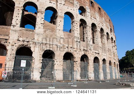 The Colosseum in Rome Italy in the citi down town.