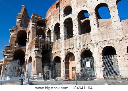 The Colosseum in Rome Italy in the citi down town