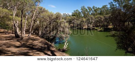 Swan River panorama in Maali Bridge Park Swan Valley wine region Western Australia