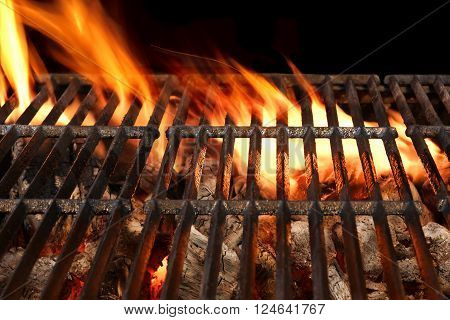 Bbq Flaming Grill Isolated On The Black Background, Close Up