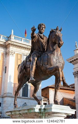 The Statue of Marcus Aurelius on the Capitoline Hill. Rome.