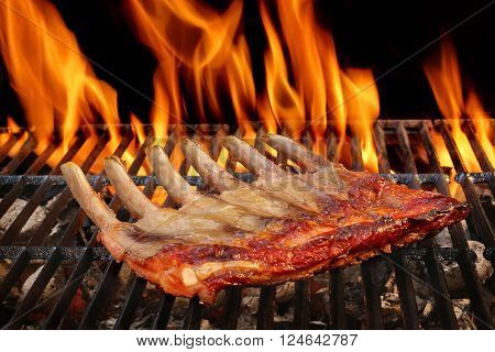 Pork Ribs On The Hot BBQ Charcoal Grill