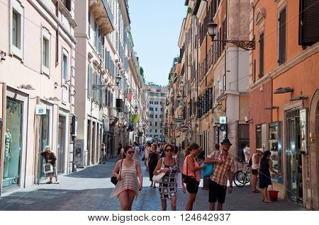 ROME-AUGUST 6: Via Frattina on August 6 2013 in Rome. Via Frattina is a shopping area in Rome Italy.