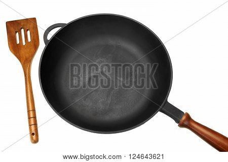 Cast Iron Skilletor Frying Pan White Isolated, Top View