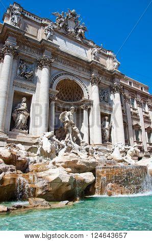 The Statue of Neptune. Trevi Fountain in Rome Italy.