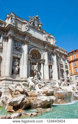 Trevi Fountain in Rome Italy.in the citi
