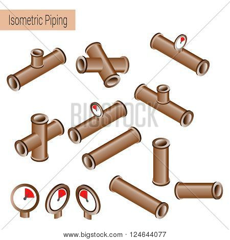 Vector 3d flat isometric illustration collection of detailed Construction Pieces: pipes fittings gate valve faucet ells.