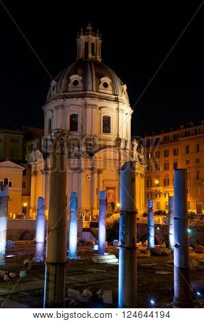 Trajan's Forum at Night. Rome Italy.in the citi