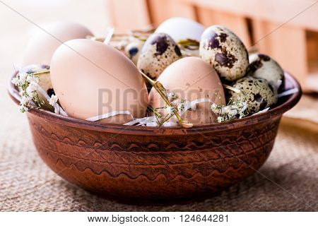 Easter Eggs In The Brown Bowl
