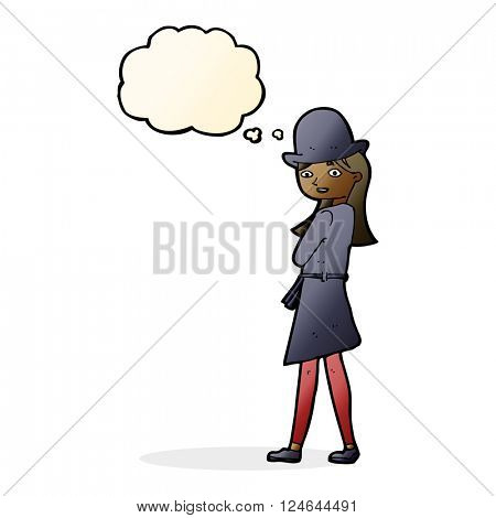 cartoon female spy with thought bubble