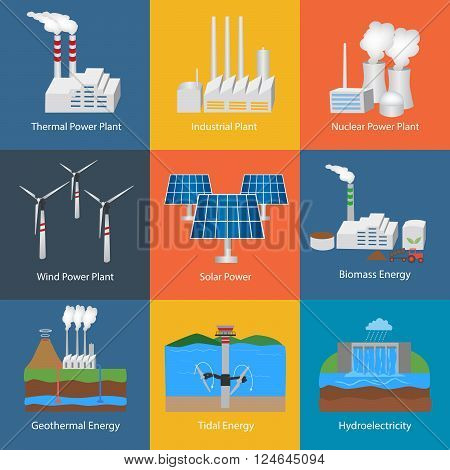 Illustration with different power plant icons:thermal hydro nuclear diesel solar eco wind geothermal tidal. Set of nine industrial buildings vector icons. Conception of making energy and pollution of the environment.