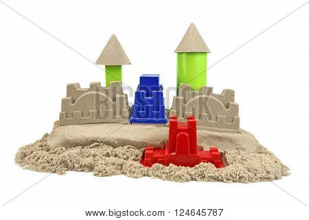 Sand Castle Made From Kinetic Sand (Magic Sand) Isolated On White Background Front View Close Up