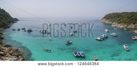 aerial view of racha island harbor andaman sea phuket southern of thailand