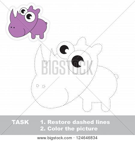 Rhino in vector to be traced. Restore dashed line and color the picture. Trace game for children.