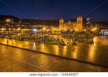 Plaza de Armas in historic center of Cusco Peru