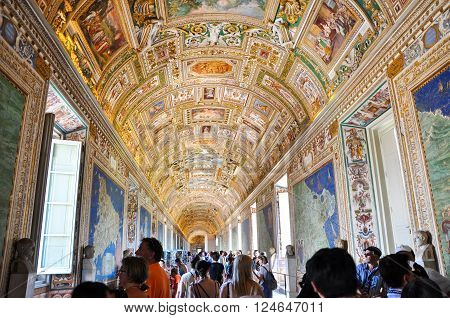 VATICAN - JULY 20: Maps Gallery in Papal Palace in the Vatican on July 20 2010.The Gallery of Maps is a gallery located on the west side of the Belvedere Courtyard in Vatican.