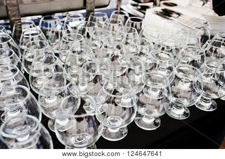A Glasses Of Brandy At Catering Table