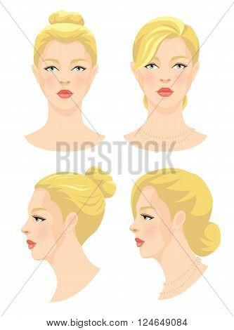 Vector illustration of beautiful girl with blonde hair and blue eyes isolated on white background. Face in front. Face in profile. Different hairstyle. Various turn head.