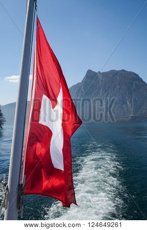 Flag Switzerland on the water