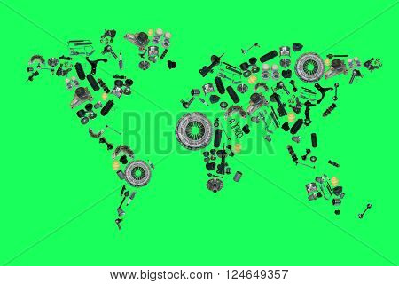 World map from lot of car spare parts isolated on green screen, chroma key