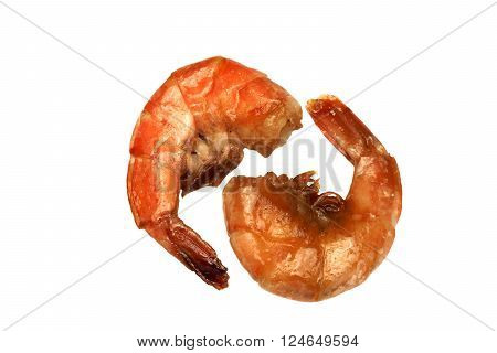 Two Big King Size Grilled Shrimps On White Isolated Background
