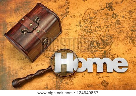 Bag Or Storage Box, Wooden Sign Home And Magnifier On the Old Map Background, Top View, Close Up