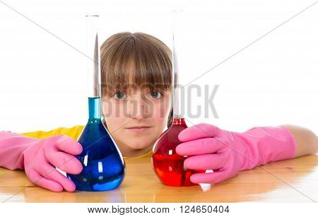 happy little girl wearing pink gloves with flasks for chemistry isolated on a white background