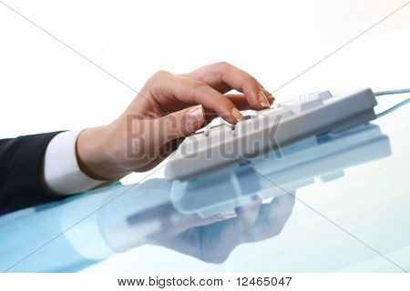 hands work on keyboard white background