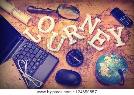 Sign Journey, Laptop, Key, Globe, Compass, Gsm Phone, Letter, Magnifier