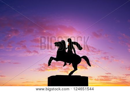 Silhouette of Alexander the Great Statue at sunrise. Thessaloniki city. Greece