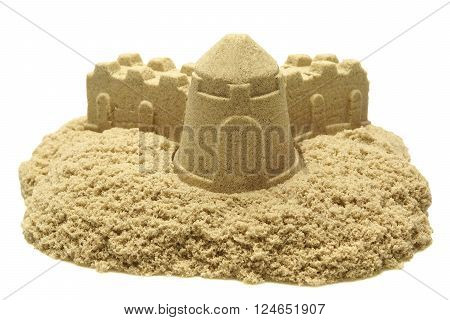 Single Sand Castle Made From Kinetic Sand or Magic Sand Isolated On White Background Concept for Indoor Children Activity Front View Close Up