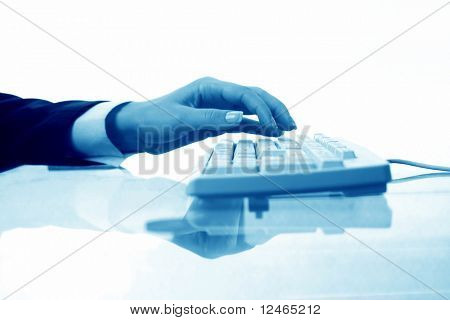 hands work on keyboard