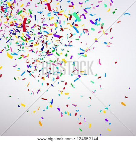 the varicolored confetti on a light background