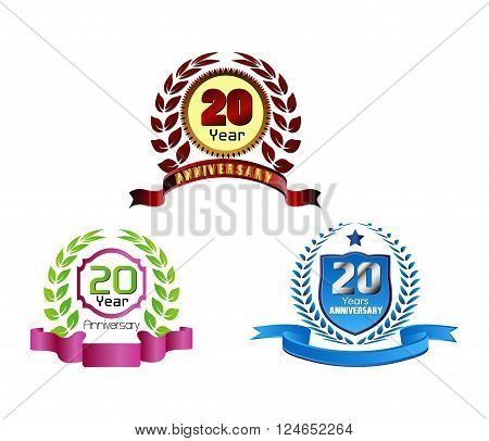 Laurel wreath 20 years set vector design template