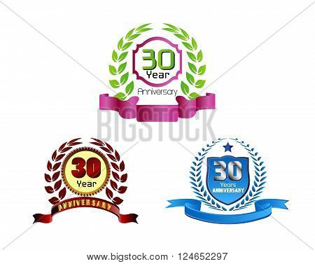 Laurel wreath 30 years set vector design template