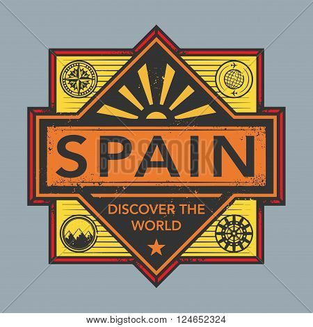 Stamp or vintage emblem with text Spain Discover the World, vector illustration