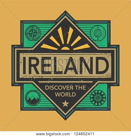 Stamp or vintage emblem with text Ireland Discover the World, vector illustration