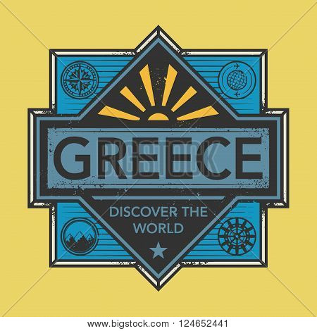 Stamp or vintage emblem with text Greece Discover the World, vector illustration
