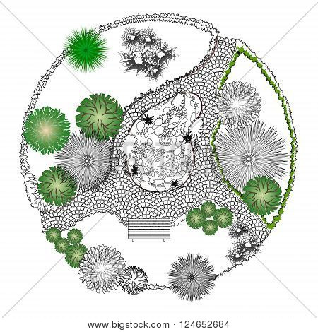 Illustration of a decorative pond on a white background